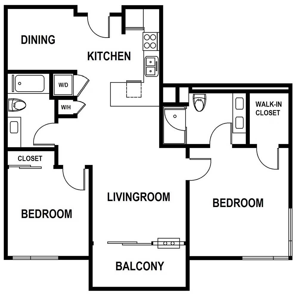2 bedroom and 2 bath, 1215 sqft floor plan