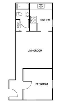 1 Bedroom 1 bath 500 sqft floor plan