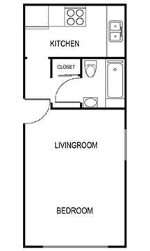 studio 2b 450 sqft floor plan