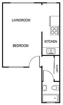 studio b 370 sqft floor plan