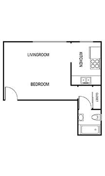 studio c 370 sqft floor plan